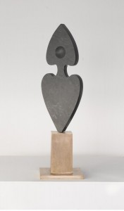 Black Hearts, 1974 (Slate with bronze base.)
