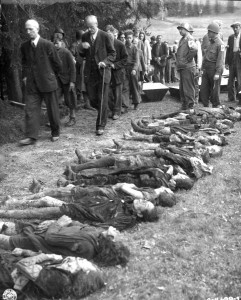 1945: German civilians were forced to walk past the bodies of Jewish women starved to death by German SS troops in a 500-kilometre march across Czechoslovakia.