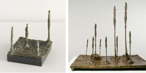 Left, Fromel's 'Chess Set';  Right, Giacometti