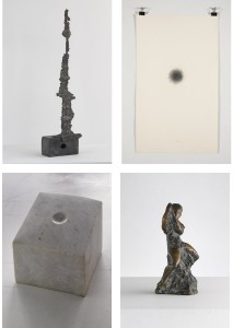 Clockwise from top left: Conductor, c.1965 (Bronze on limestone base); Untitled Inv 0024, 1969 (Pencil on paper); Oliver on a swing, c.1972 (Bronze); Pond No. II, 1967 (Marble).