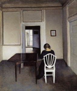 Vilhelm Hammershoi Interior with Ida in a white chair , 1900 courtesy Sotheby's